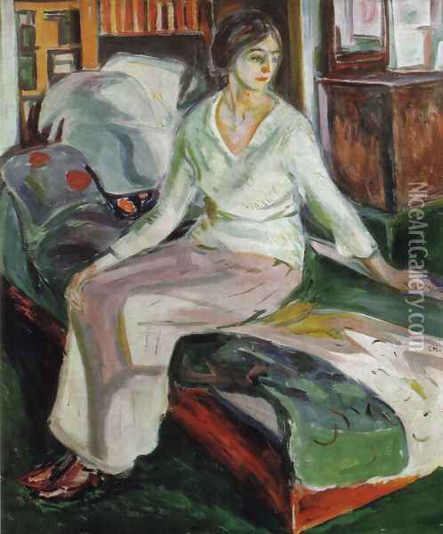 Model on the Couch Oil Painting - Edvard Munch