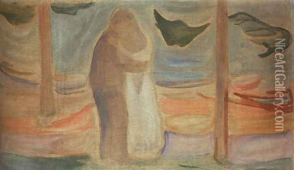 Couple on the Shore Oil Painting - Edvard Munch
