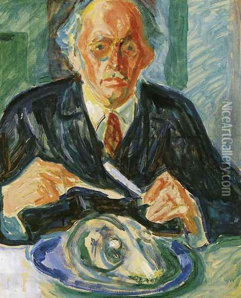 Self-Portrait with Cod's Head Oil Painting - Edvard Munch