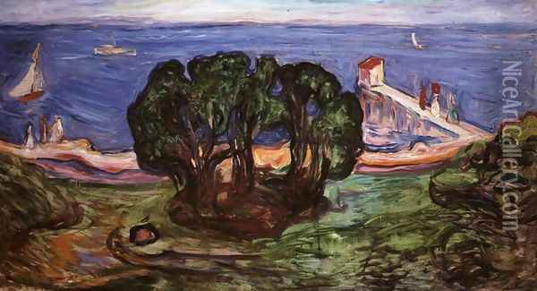 Trees on the Shore Oil Painting - Edvard Munch