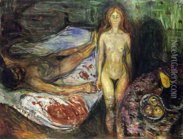 The Death of the husband 1907 Oil Painting - Edvard Munch