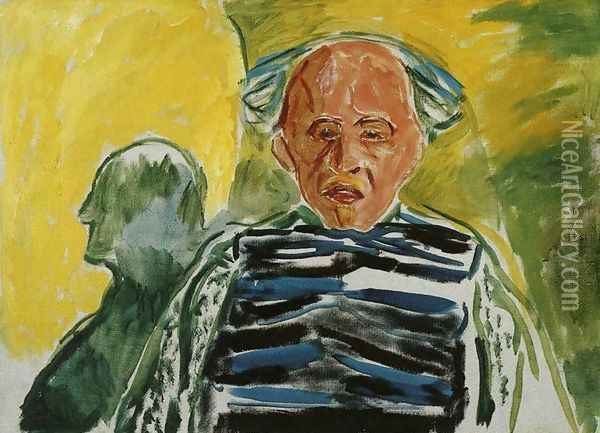Self-Portrait with Striped Pullover Oil Painting - Edvard Munch