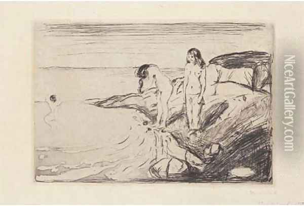 Women bathing (Badende Frauen) Oil Painting - Edvard Munch
