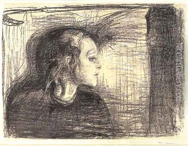 The Sick Child I Oil Painting - Edvard Munch