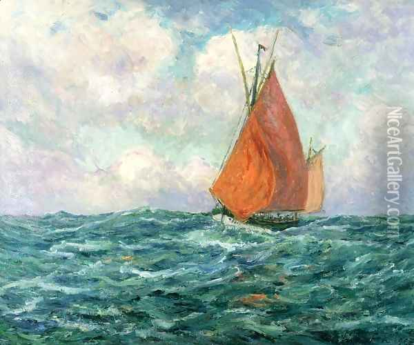 Tuna Boat at Sea Oil Painting - Maxime Maufra
