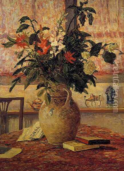 A Bouquet of Flowers in front of a Window Oil Painting - Maxime Maufra