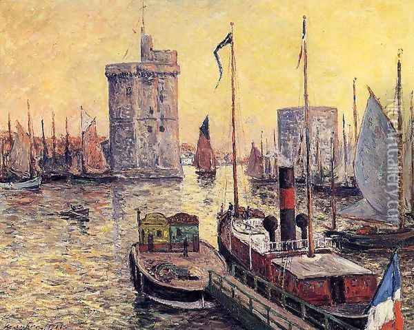 The Port of La Rochelle at Twilight Oil Painting - Maxime Maufra