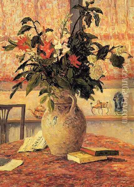 Bfouquet of Flowers in Front of a Window Oil Painting - Maxime Maufra