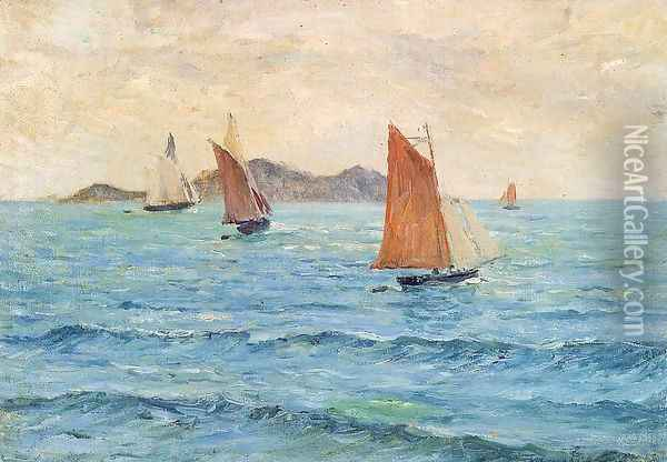 Sailboats Oil Painting - Maxime Maufra