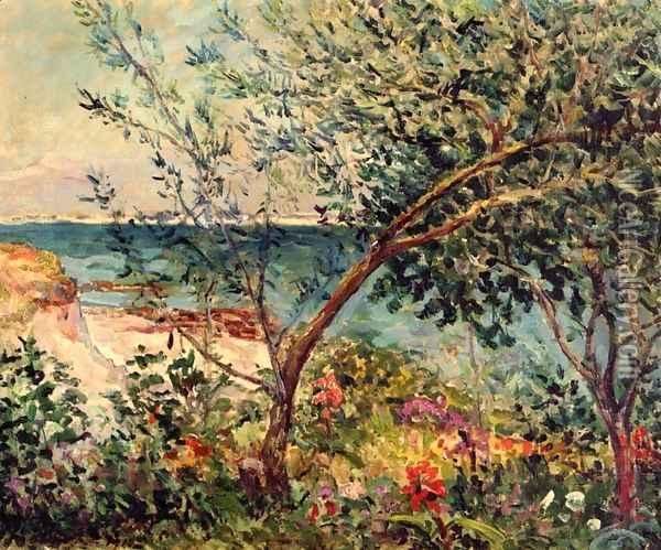 Monsieur Maufra's Garden by the Sea Oil Painting - Maxime Maufra