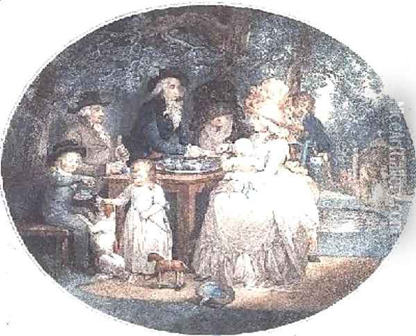 A Tea Garden colour stipple engraving after Morland Oil Painting - George Morland