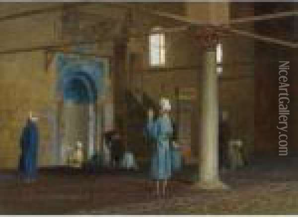 Priere Dans La Mosquee (prayer In The Mosque) Oil Painting - Jean-Leon Gerome