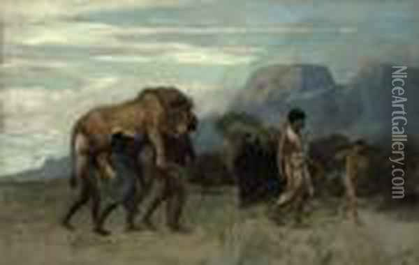 Return From The Lion Hunt Oil Painting - Jean-Leon Gerome