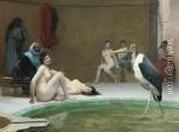 Le Marabout: In The Harem Bath Oil Painting - Jean-Leon Gerome