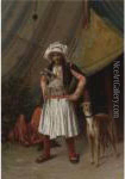 A Bashi-bazouk And His Dog Oil Painting - Jean-Leon Gerome