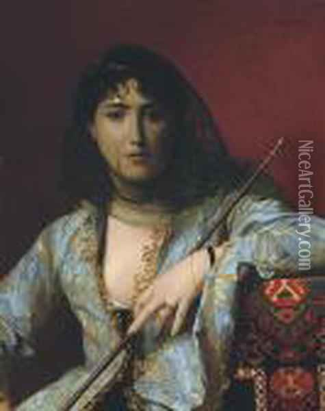Femme Circassienne Voilee: Veiled Circassian Beauty Oil Painting - Jean-Leon Gerome