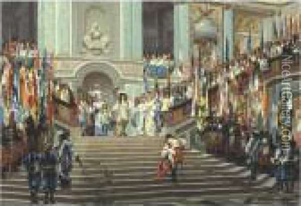 The Reception Of The Grand Conde At Versailles Oil Painting - Jean-Leon Gerome