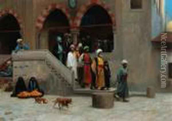 Quittant La Mosquee Oil Painting - Jean-Leon Gerome