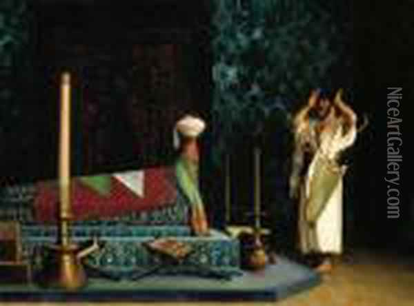 Prayer At The Sultan's Tomb Oil Painting - Jean-Leon Gerome