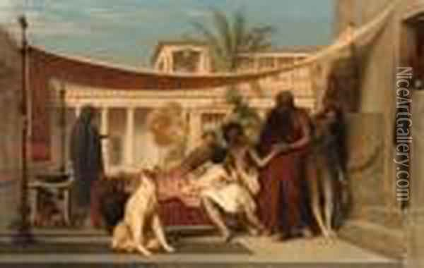 Socrates Seeking Alcibiades At The House Of Aspasia Oil Painting - Jean-Leon Gerome