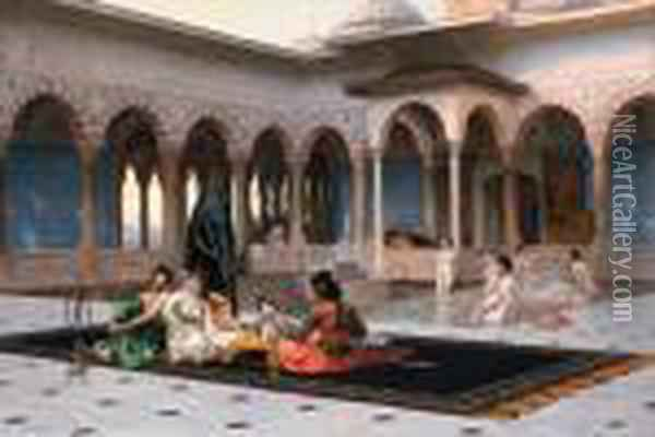 The Terrace Of The Seraglio Oil Painting - Jean-Leon Gerome