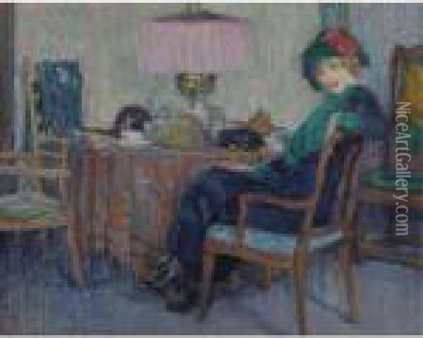 Interieur Oil Painting - Leo Gestel