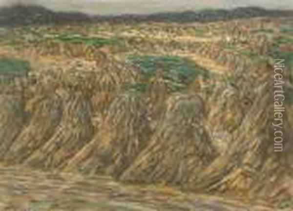 Landscape With Haystacks Oil Painting - Leo Gestel