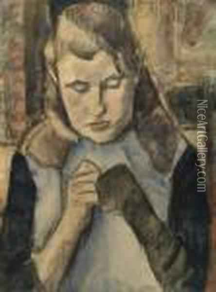 Girl Mending Socks Oil Painting - Leo Gestel