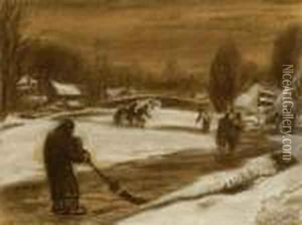 Snowy Landscape With Skaters Oil Painting - Leo Gestel