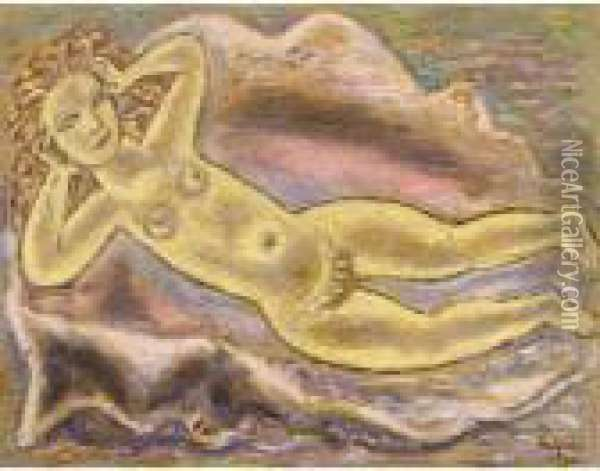 Reclining Nude Oil Painting - Leo Gestel