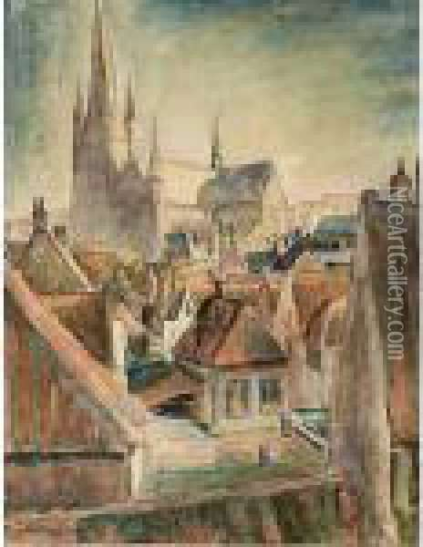 View Of Woerden Oil Painting - Leo Gestel