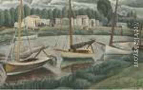 Sailing Boats In A Canal Oil Painting - Leo Gestel
