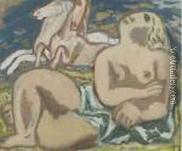 Reclining Nude With White Horses Oil Painting - Leo Gestel