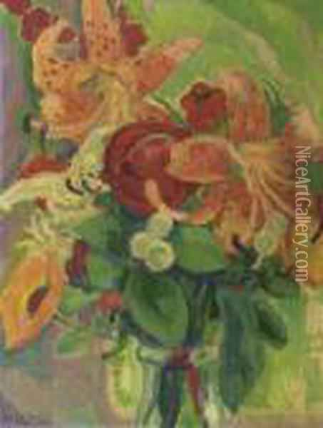 Still Life With Tiger Lilies Oil Painting - Leo Gestel