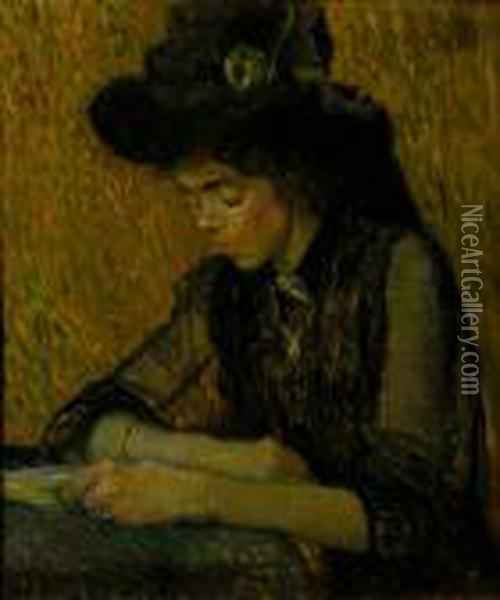 A Reading Lady Oil Painting - Leo Gestel