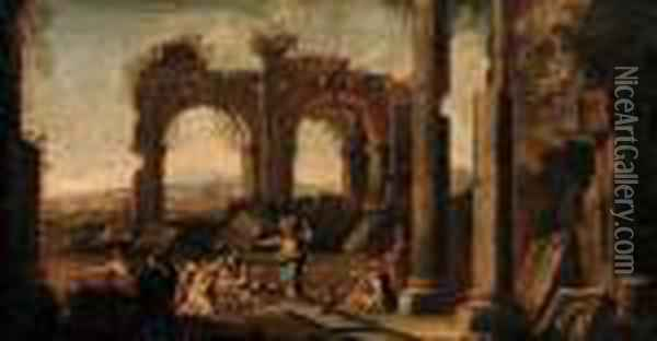 A Capriccio Of Classical Ruins With Christ At The Pool Ofbethesda Oil Painting - Giovanni Ghisolfi