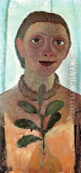 Self-Portrait with Camelia Sprig Oil Painting - Paula Modersohn-Becker