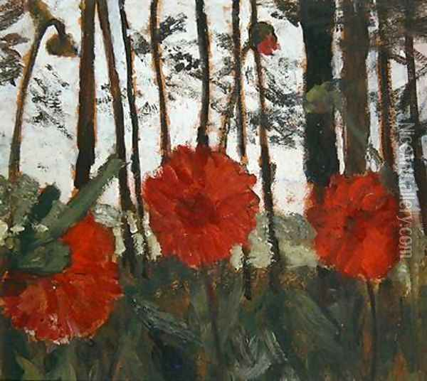 Poppies on the Edge of a Wood Oil Painting - Paula Modersohn-Becker