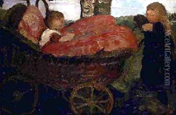 Little Girl Pushing a Pram 1904 Oil Painting - Paula Modersohn-Becker