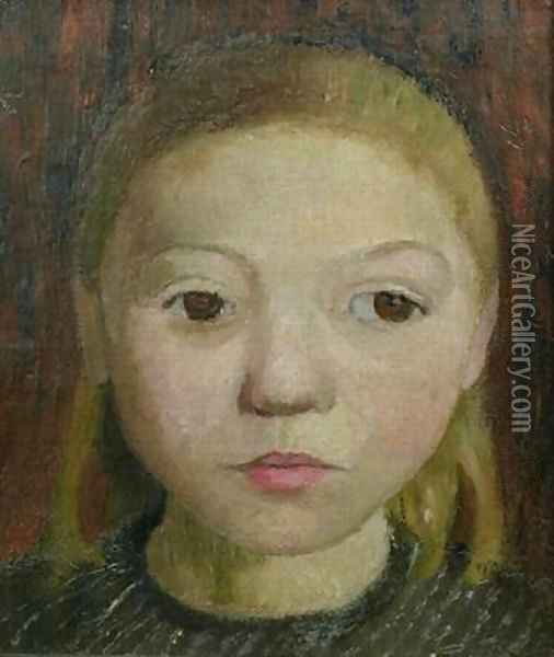 Head of a Girl Oil Painting - Paula Modersohn-Becker