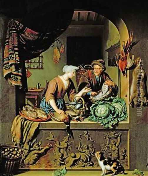 A Woman and a Fish Peddler 1713 Oil Painting - Willem van Mieris