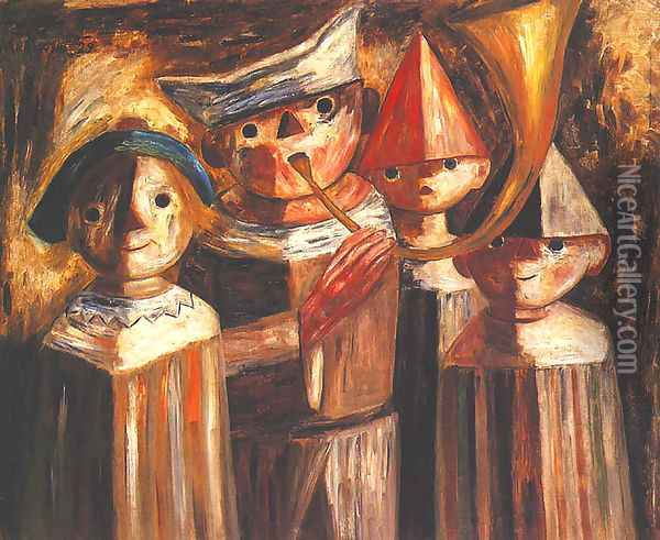 Four Children with a Trumpet Oil Painting - Tadeusz Makowski