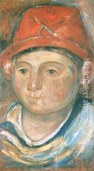 Head of the Boy in a Red Hat Oil Painting - Tadeusz Makowski