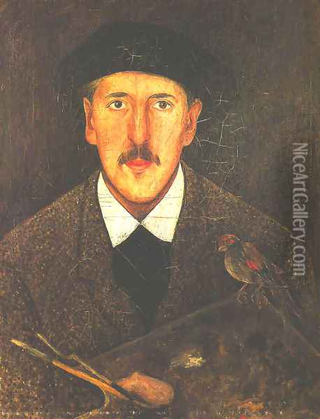 Self-Portrait with a Palette and a Bird Oil Painting - Tadeusz Makowski