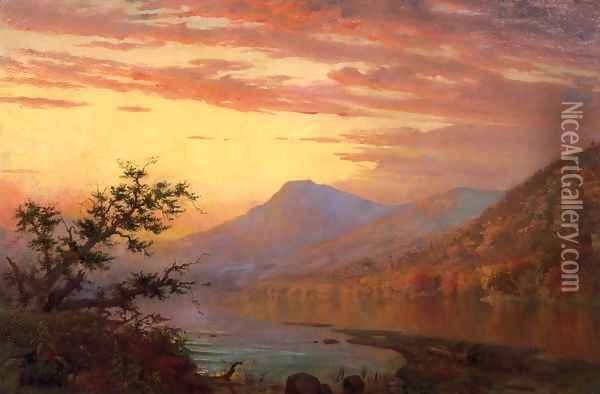 Sunset, Adirondack Lake Oil Painting - Homer Dodge Martin