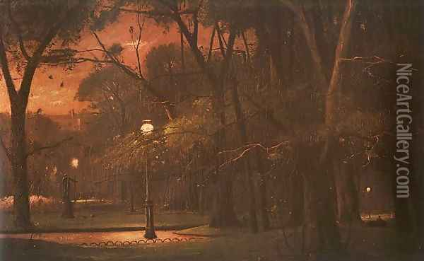 Park Monceau at Night (A Parc Monceau ejjel) 1895 Oil Painting - Mihaly Munkacsy