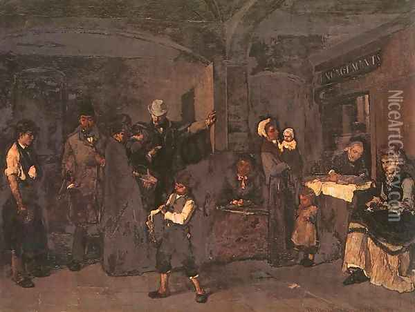 The Pawnbroker's Shop (Zaloghaz) 1874 Oil Painting - Mihaly Munkacsy