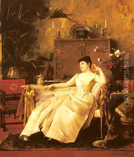 A Portrait of the Princess Soutzo Oil Painting - Mihaly Munkacsy
