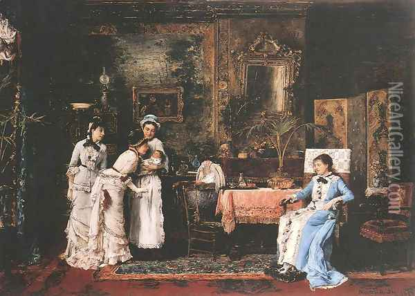 Baby's Visitors Oil Painting - Mihaly Munkacsy