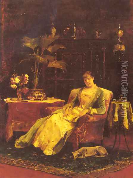 A lady seated in an Elegant Interior Oil Painting - Mihaly Munkacsy